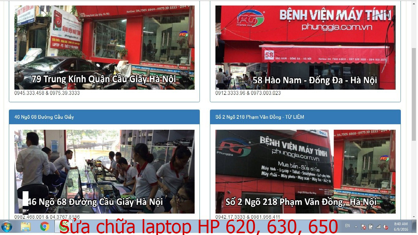 sửa chữa laptop HP 620, 630, 650
