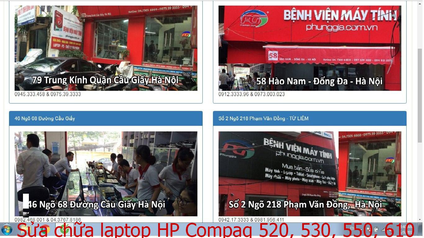 sửa chữa laptop HP Compaq 520, 530, 550, 610