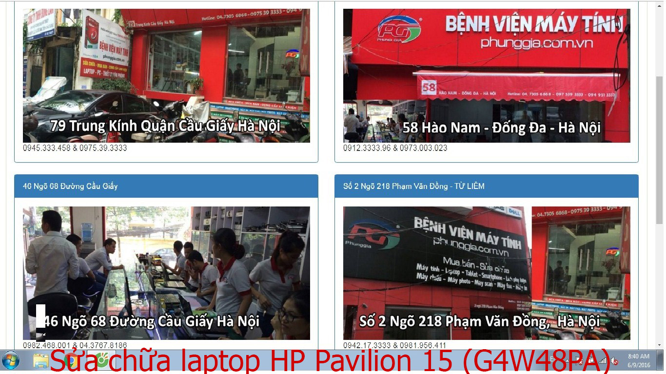 sửa chữa laptop HP Pavilion 15 (G4W48PA), 15 (G4W76PA), 15 N234TU